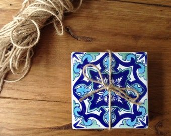 Mixed blues, intricate tile coaster gift set (4)