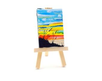 Beach Grass sunset painting - Original Canvas art with Easel - Mini acrylic painting - mini art - mini sunset painting - Beach at Sunset #2