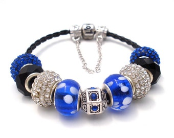 Blueberry Bliss Love Engraved Braided Leather European Style Charm Bracelet