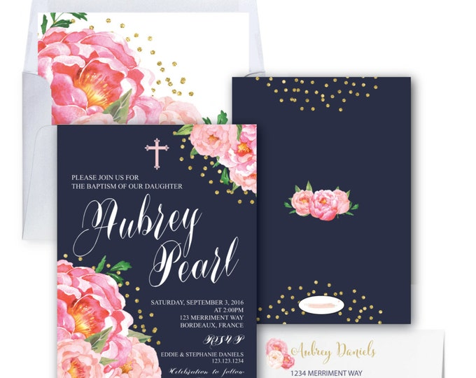 Baptism Invitation // Christening Invitation // Communion // Peonies // Navy // Pink Floral Baptism // Gold Glitter // BORDEAUX COLLECTION