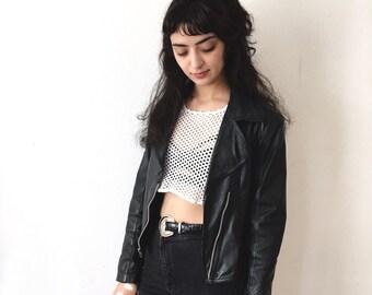 S vintage black leather motorcycle jacket