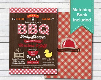 Baby shower BBQ invitation. Rustic wood baby boy, Gender neutral red plaid couples baby shower digital printable invite. BBQ005