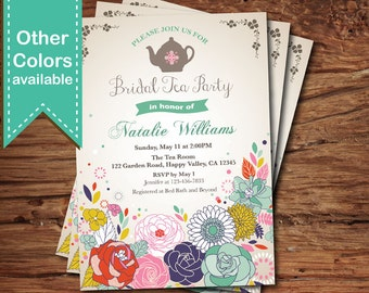 Tea party invitation. Floral bridal tea party, bridal luncheon, baby shower, afternoon garden tea party any occasion, digital invite. BS116