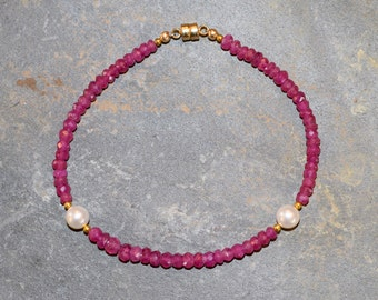 Pink Sapphire and Pearl Bracelet