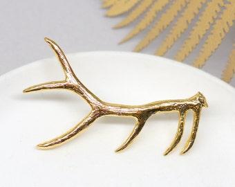 Gold Antler Brooch, Antlers Scarf Pin, Pewter Antler, Deer Horn Brooch, Unique Accessories, Lapel Pin