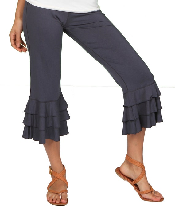 Darlene Ruffle Bloomer Yoga Pants in Dark Gray for Womens Fashion Boho Chic Wholesale
