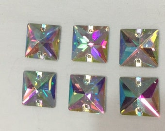 Sew On Rhinestones Glass Crystal AB Square 16mm  6 pieces Ships from USA