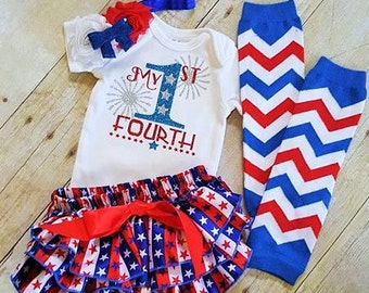 my 1st 4th/my first 4th/my 1st fourth outfit/4th of July baby clothes/4th of July baby outfits/baby headbands/4th of july baby bloomers