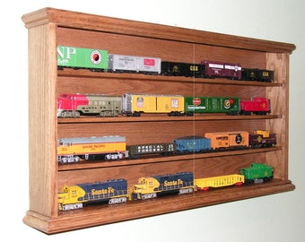 HO Train display case, cabinet  four shelf oak for your model railroad  collection