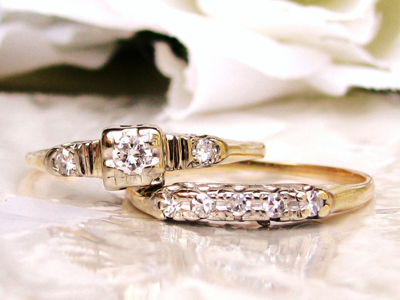 art deco engagement ring set diamond art deco bridal. Black Bedroom Furniture Sets. Home Design Ideas