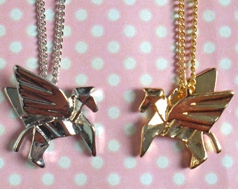 Kawaii origami Pegasus necklace in gold or silver