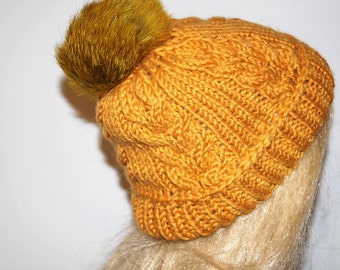 Yellow (Mustard) Hat, Alpaca Wool Hat, Winter Cap,Womans Hat , Natural Fur Pompon,Hat Fur Pom Pom,Hand Knitted Hat,Handmade Cap
