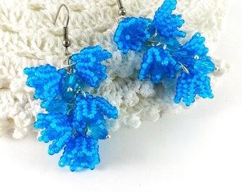 Blue earrings Blue jewellery Lily of the valley Blue beadwork Sky blue earrings Beaded flowers Blue gift for wife Blue bellflowers beaded