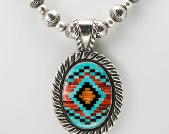 Carolyn Pollack Southwestern Oval Sterling Silver Inlay Pendant