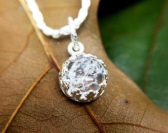 Natural Quartz Necklace, Ice Quartz Pendant, Rose Cut Crystal Quartz, Gemstone Jewelry, Sterling Silver Natural Stone Jewelry