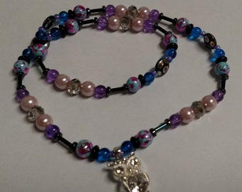 Pink/blue/purple beaded stretch necklace with owl pendant