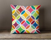 Retro pillow cover with colourful flower petals, kids pillow ,geometric Pillow cover,gift for her,nursery,throw pillow,throw pillow,kids