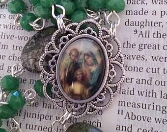Holy Family Rosary Silver Rosary Catholic Rosaries Green Rosary Jesus Mary Joseph Rosary