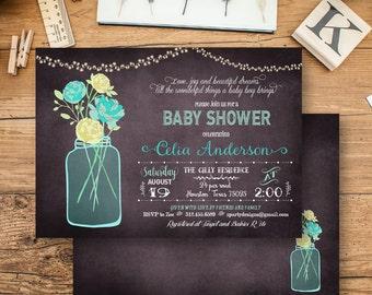 baby boy shower invitation, baby boy shower invitations, Floral Bouquet Shower Invitations, Rustic boy shower invites, Vintage baby,  FL