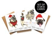 Pug Christmas cards, christmas card set,dog, set of 4 or 8, xmas greetings cards seasons merry christmas holidays unique xmas card pugs cute