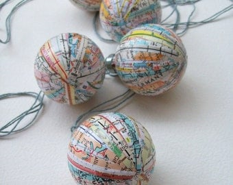 It's a Small World: Map Ornaments / Travel Theme / Hanging World Globe / Planet / Set of Five / Colorful / Global / Hanging Planet