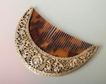 Sri Lankan or Indonesian 19th C silver gilt comb hair ornament  - with birds and flowers - exquisite work