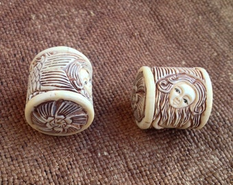 Incredible Carved Bone Mermaid Bead - 7/8 Inch - 22 mm - Small Size