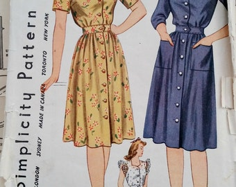 """1940s Simplicity Day Swing Dress Sewing Pattern Size 12 30"""" Bust XS"""