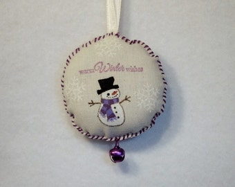 Snowman with Purple Scarf Muslin Stamped & Hand-Painted Ornament