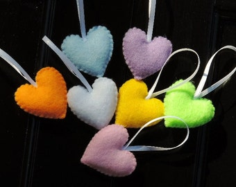 Felt Hearts Felt Ornament Set Mini Heart Ornaments Christmas Ornaments Valentine's Day Ornaments Pastel Hearts (7 heart ornaments in set)
