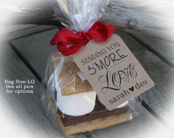 S'More Love favors | 25 - 100 DIY Bags/Favor Tags w/Ribbon-S'Mores Bridal Shower Favors-Days until- 2 bag sizes|Smore's wedding