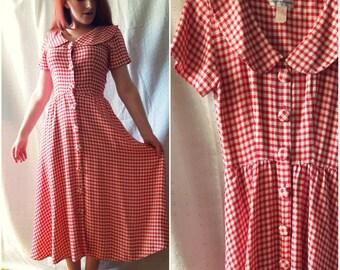 Vintage Red & White Gingham Dress, Peter Pan Collar, Shirt Dress, Picnic, Rockabilly, small