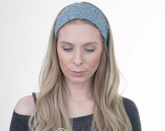 Blue Floral Hair Wrap, Cotton Headband, Wide Hairband, Boho Turban, Fashion Headband, Vintage, Hair Tie, Yoga