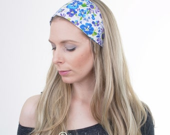 Blue Flowers Hair Wrap, Cotton Headband, Wide Hairband, Boho Turban, Fashion Headband, Vintage, Hair Tie, Yoga