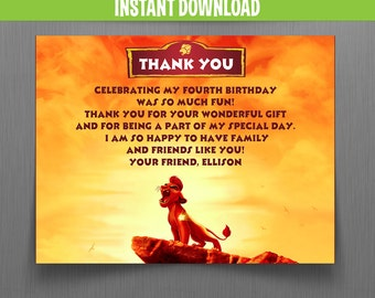 The Lion Guard Birthday Thank You Cards - Instant Download - Edit and print at home with Adobe Reader