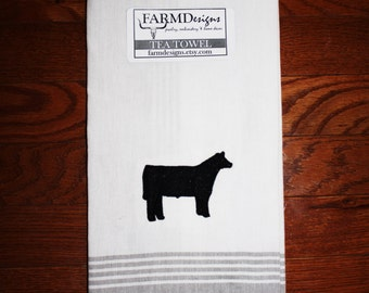 cattle towel ~ cow kitchen decor ~ show steer ~ show cattle stock show decor