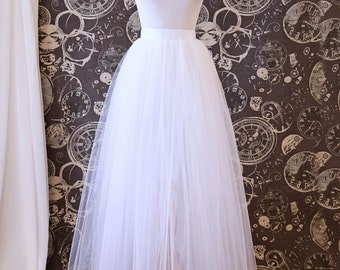 White Tulle Over Skirt - Adult Full Length Tutu, Wedding Skirt Overlay with Ribbon Waist - Custom Made to Your Measurements