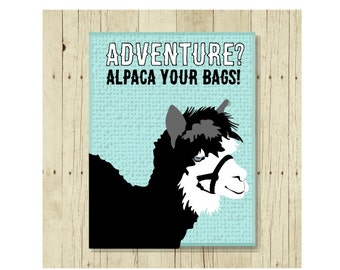 Alpaca Magnet, Funny Magent, Refrigerator Magnet, Travel Magnet, Gifts Under 10, Small Gift, Animal Art, Alpaca Art, Goodbye Gift Magnet