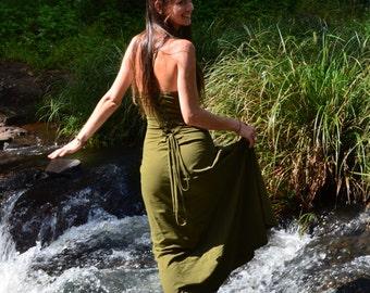 Ishtar Dress - Olive Green, Long Elegant Dress, Bohemian Dress, Pixie, Faerie, Princess, Steampunk, Gothic, Long Dress, Boho Dress.