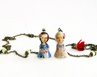 Marie Antoinette doll necklace Long lariat necklace Long layered chain necklace Polymer clay doll Decoupage jewelry Unique Gift for Her