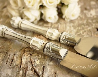 Rustic Wedding Cake Server Set & Knife Cake Cutting Set Wedding Cake Knife Set Wedding Cake Servers Wedding Cake Cutter Cake Decoration