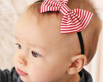 Red Pin Striped Bow