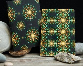 2 Mandala Flower Mini A7 Pocket Notebooks.  Gloss Cover Small holiday Journals, sketchbook, blank notebooks. Notebook sets. Spiritual art.