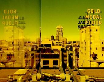Fine Art Photography, Minneapolis Art, Architecture Art, Industrial Decor, Wall Art, 8 x 12, Gold Medal Flour, Otherworldly Green Light