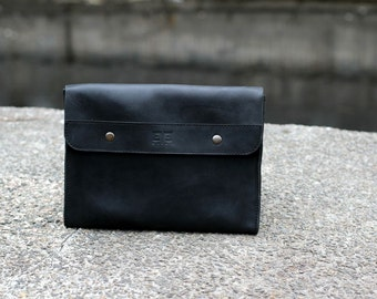 Leather clutch, handmade clutch, genuine leather clutch, handmade bag, mens clutch, womens clutch, leather clutch purse, LB0501 Black