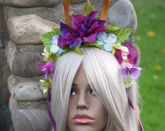 Deer Antlers Stag Doe Faun Fawn headband,flower crown deer antlers,magical forest fairy antlers,Horns,Woodland Spirit Costume, Anime Cosplay