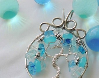 Water Phoenix Moonstone Crystal Tibetan Silver Tree of Life Pendant Suncatcher