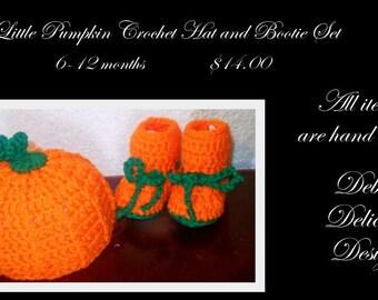 Little Pumpkin Hand Crochet Hat and Bootie Set (6-12 months)