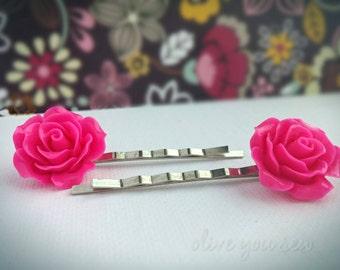 Resin Flower Bobby Pins, flower hair pins - HOT PINK, various styles
