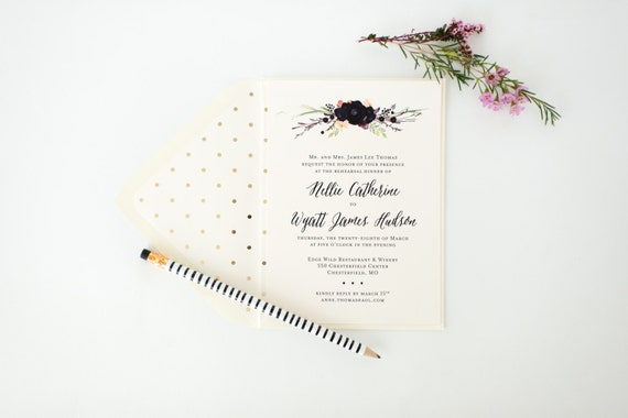 nellie rehearsal dinner invitation - watercolor floral (sets of 10)  // lola louie paperie